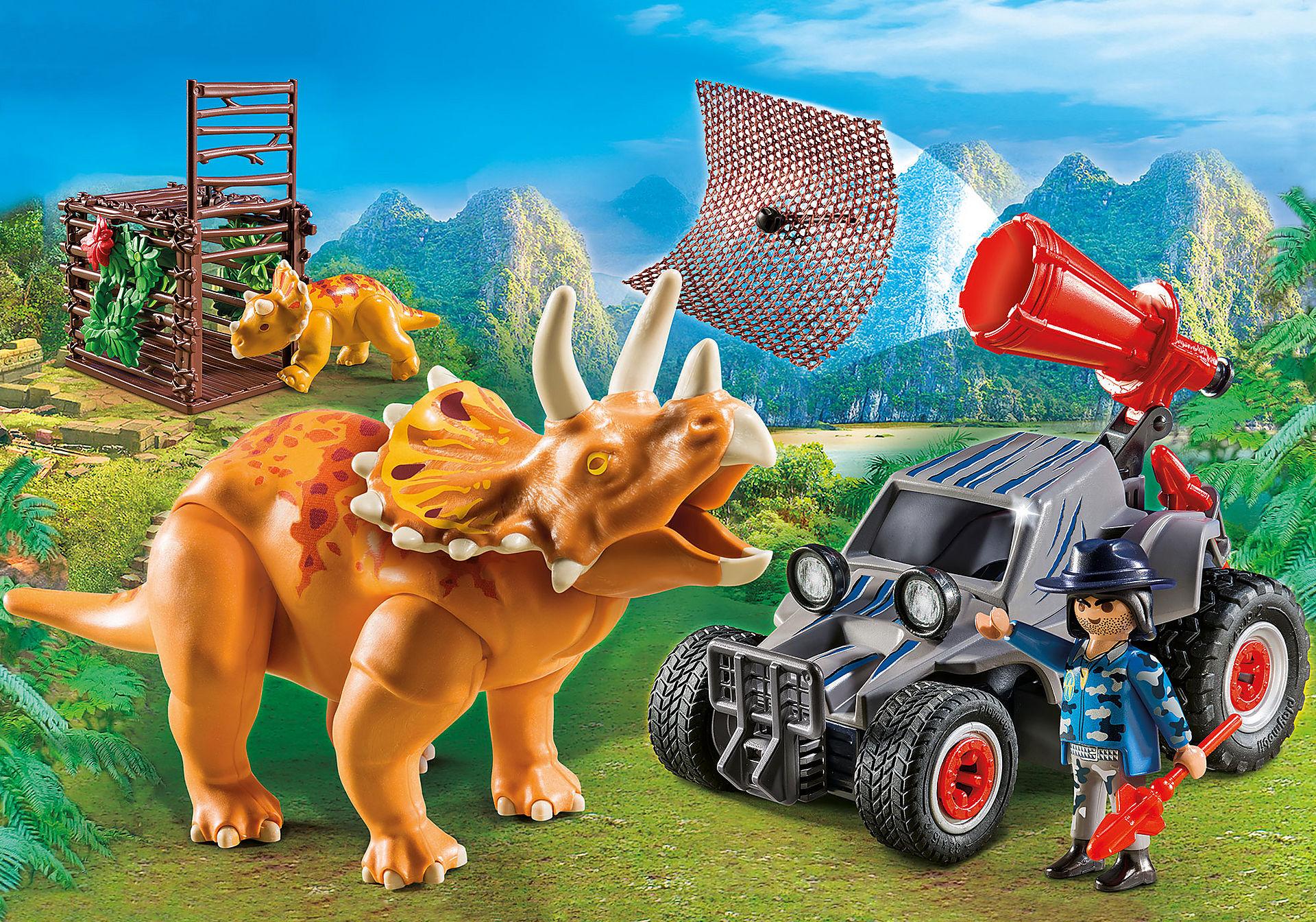 http://media.playmobil.com/i/playmobil/9434_product_detail/Όχημα λαθροκυνηγών και οικογένεια Τρικεράτωψ