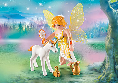 9438 Sun Fairy With Unicorn Foal