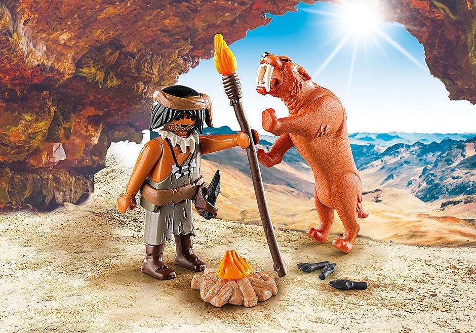 9442 Neanderthaler met sabeltandtijger detail image 1
