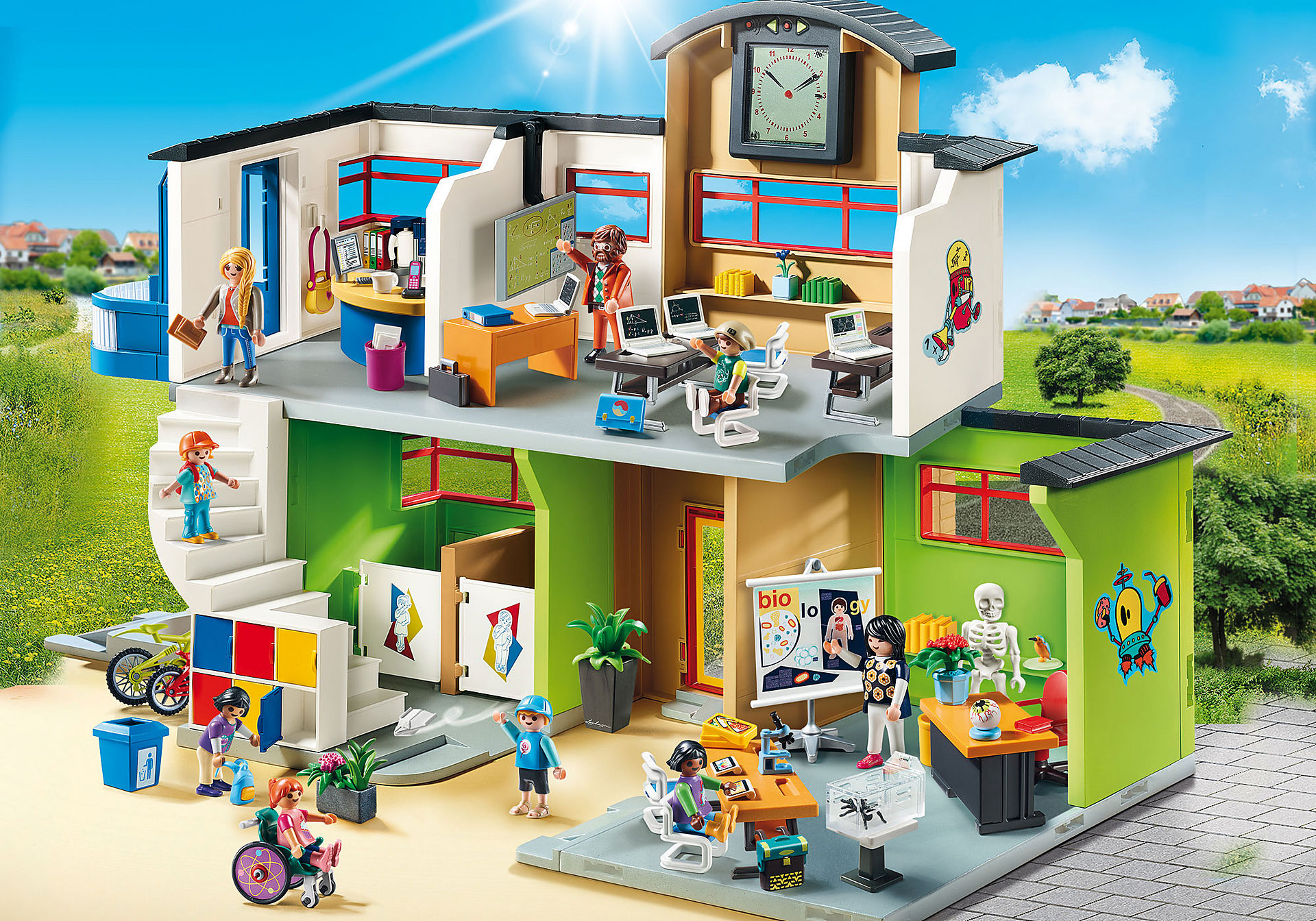 http://media.playmobil.com/i/playmobil/9453_product_detail/Επιπλωμένο Σχολικό Κτίριο