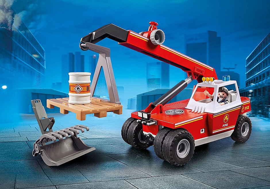 9465 Pompier avec véhicule et bras téléscopique  detail image 1