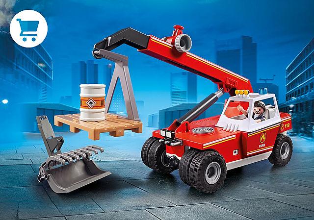 9465_product_detail/Pompier avec véhicule et bras téléscopique