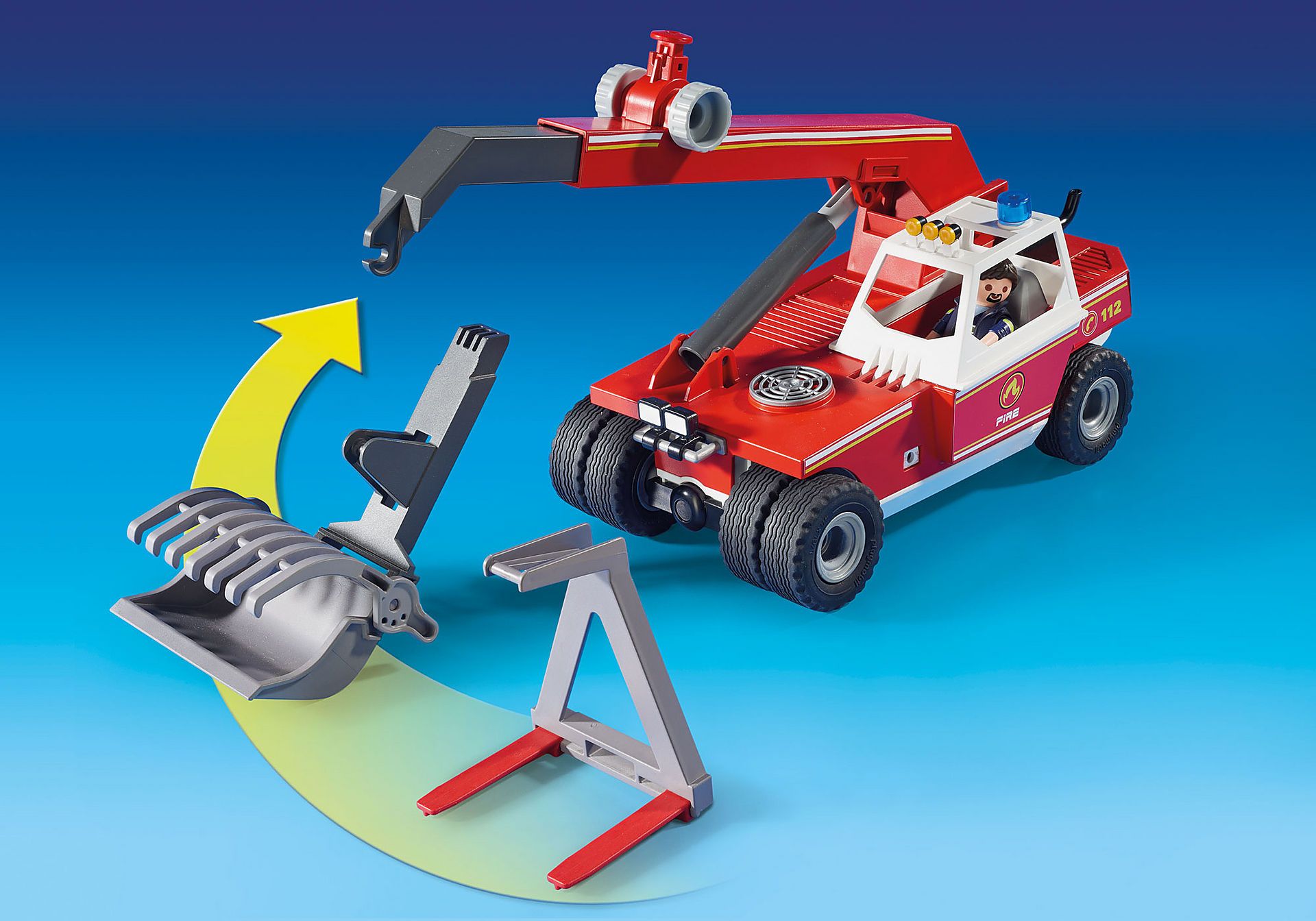 9465 Pompier avec véhicule et bras téléscopique  zoom image5