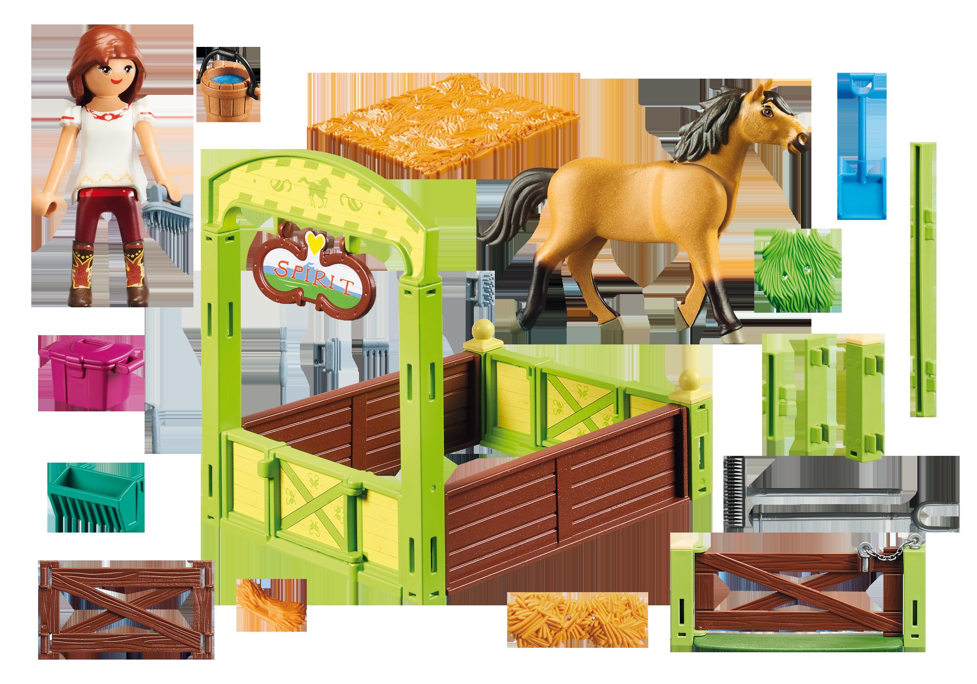 """http://media.playmobil.com/i/playmobil/9478_product_box_back/Hästbox """"Lucky och Spirit"""""""