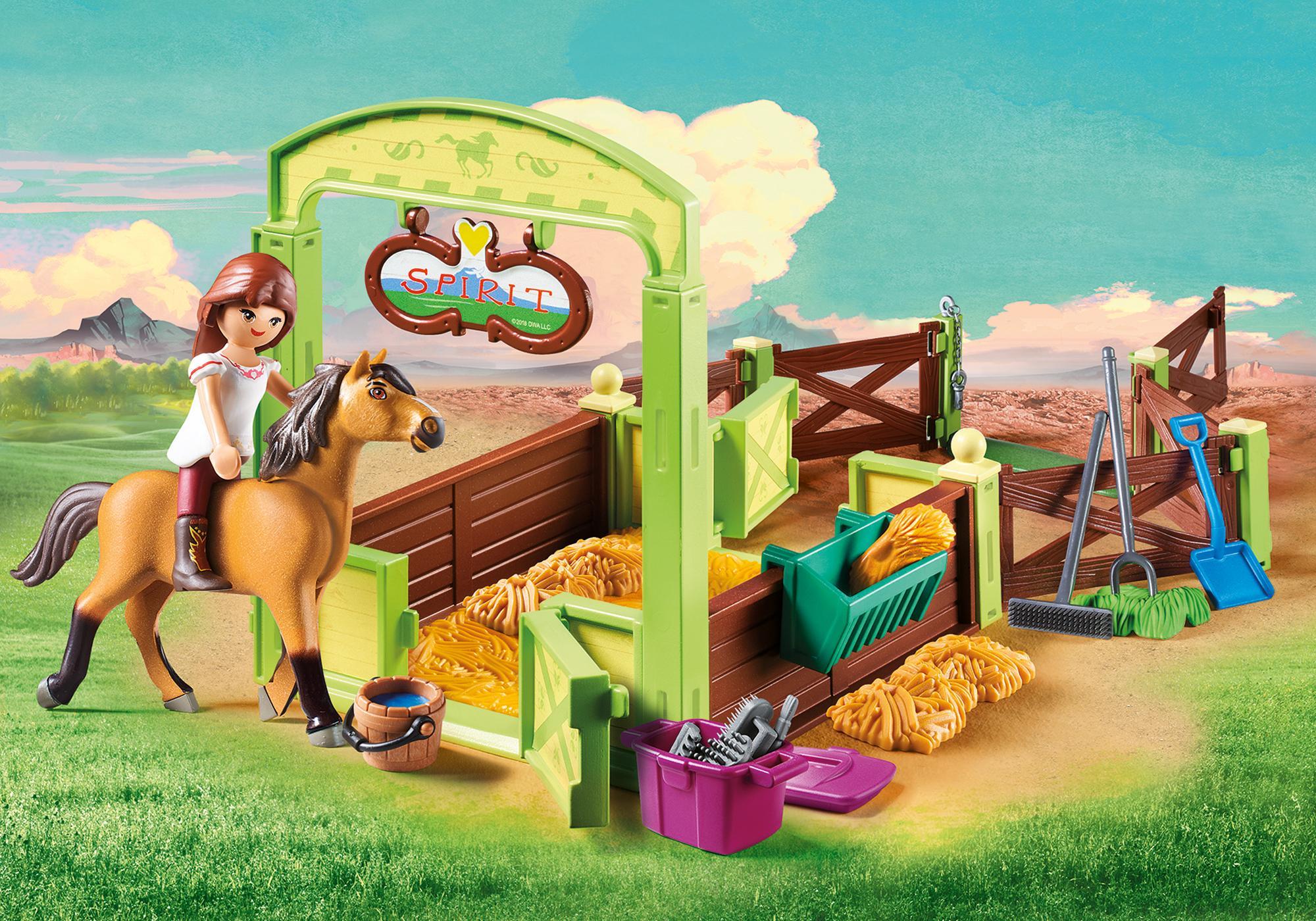 """http://media.playmobil.com/i/playmobil/9478_product_detail/Hästbox """"Lucky och Spirit"""""""