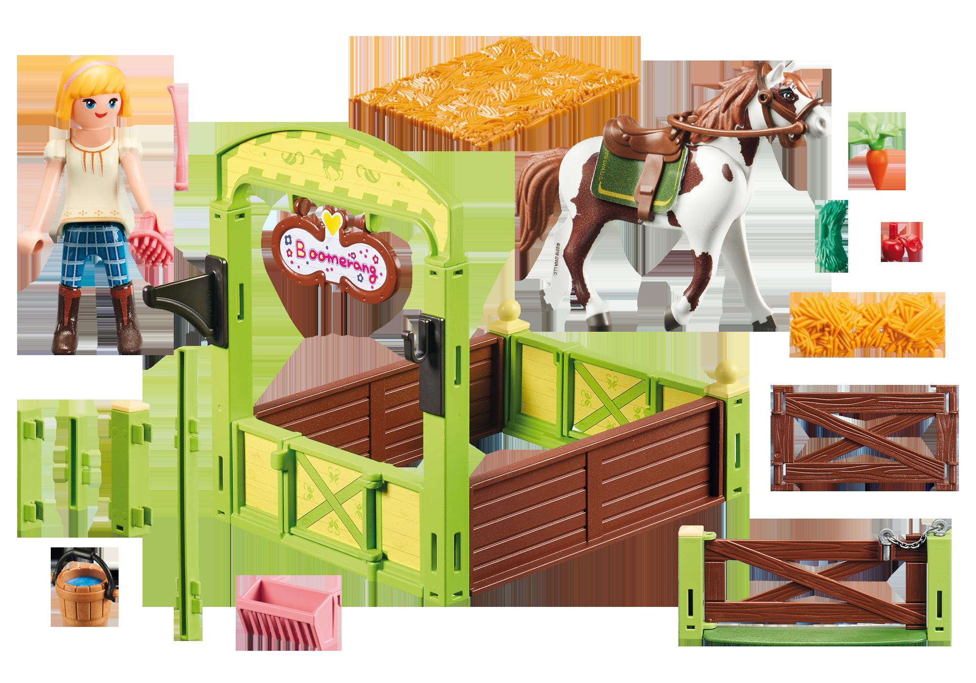 """http://media.playmobil.com/i/playmobil/9480_product_box_back/Hästbox """"Abigail och Boomerang"""""""
