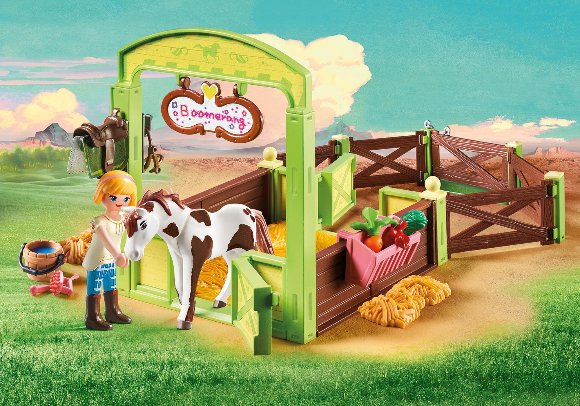 """http://media.playmobil.com/i/playmobil/9480_product_detail/Hästbox """"Abigail och Boomerang"""""""