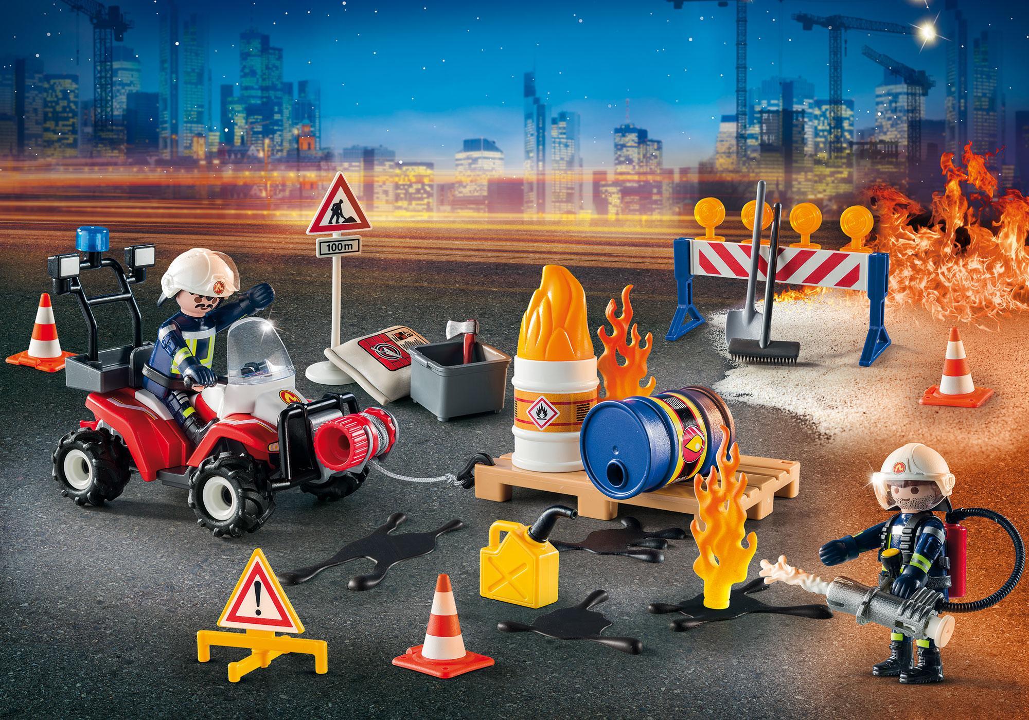 """http://media.playmobil.com/i/playmobil/9486_product_extra1/Kalendarz adwentowy """"Akcja straży pożarnej na placu budowy"""""""