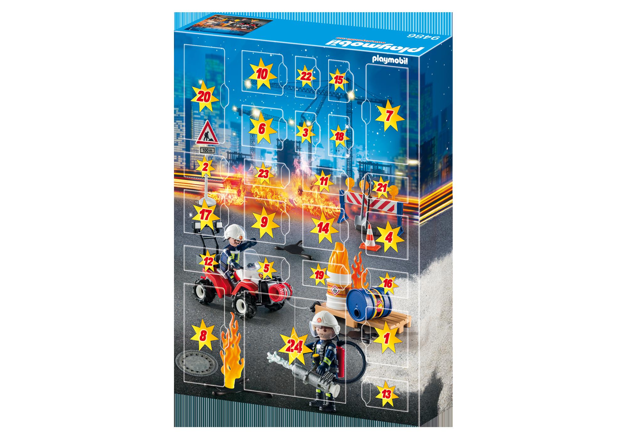"""http://media.playmobil.com/i/playmobil/9486_product_extra2/Kalendarz adwentowy """"Akcja straży pożarnej na placu budowy"""""""
