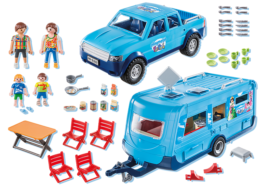9502 PLAYMOBIL-FunPark Pick-Up mit Wohnwagen detail image 3