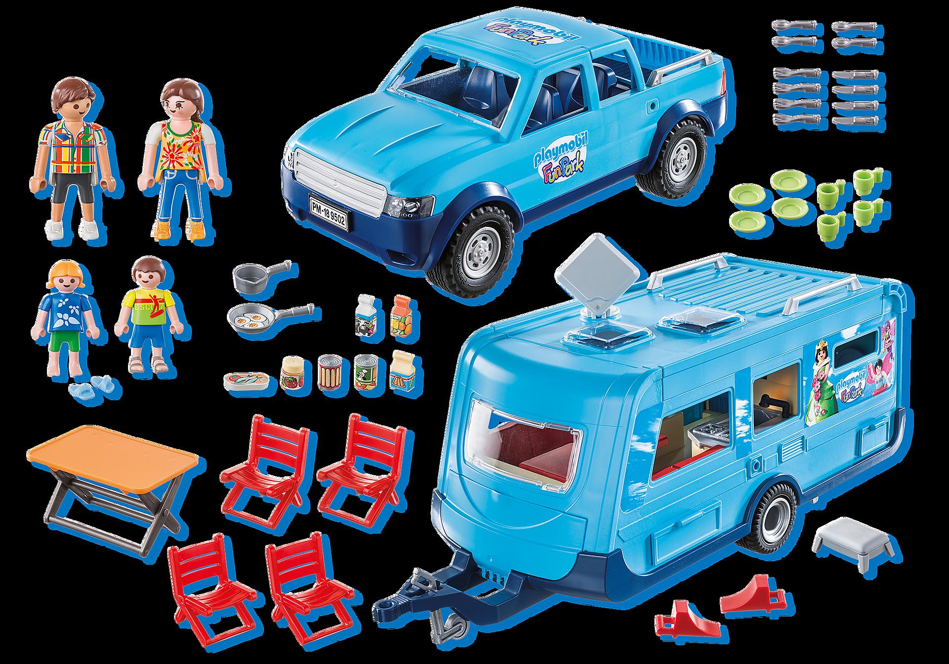9502 PLAYMOBIL-FunPark Pickup met caravan zoom image3