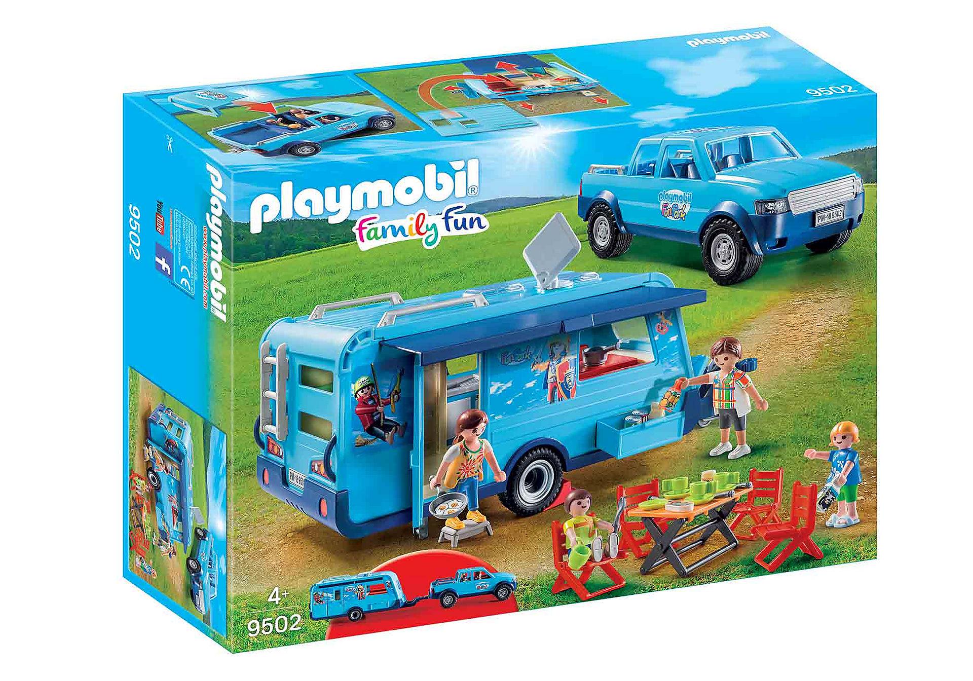 Ultramoderne PLAYMOBIL-FunPark pickup med campingvogn - 9502 - Playmobil CQ-95