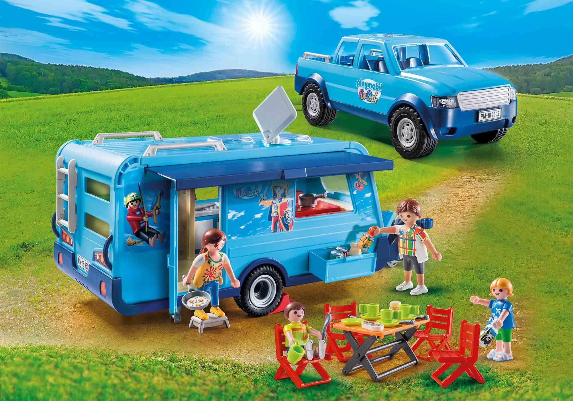 9502_product_detail/PLAYMOBIL-FunPark Pick-Up mit Wohnwagen