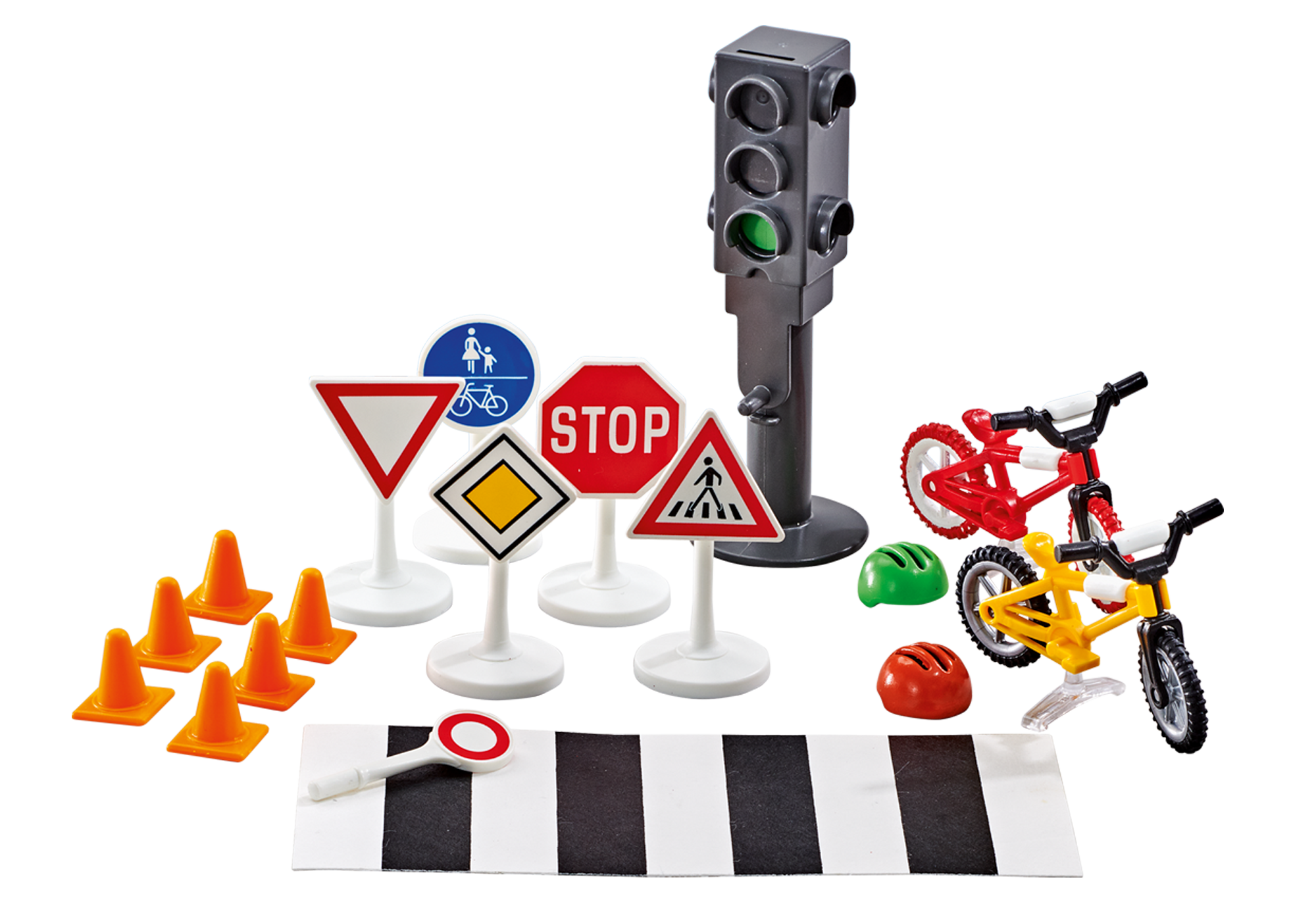 http://media.playmobil.com/i/playmobil/9812_product_detail/Passadeira com sinais de trânsito e 2 bicicletas