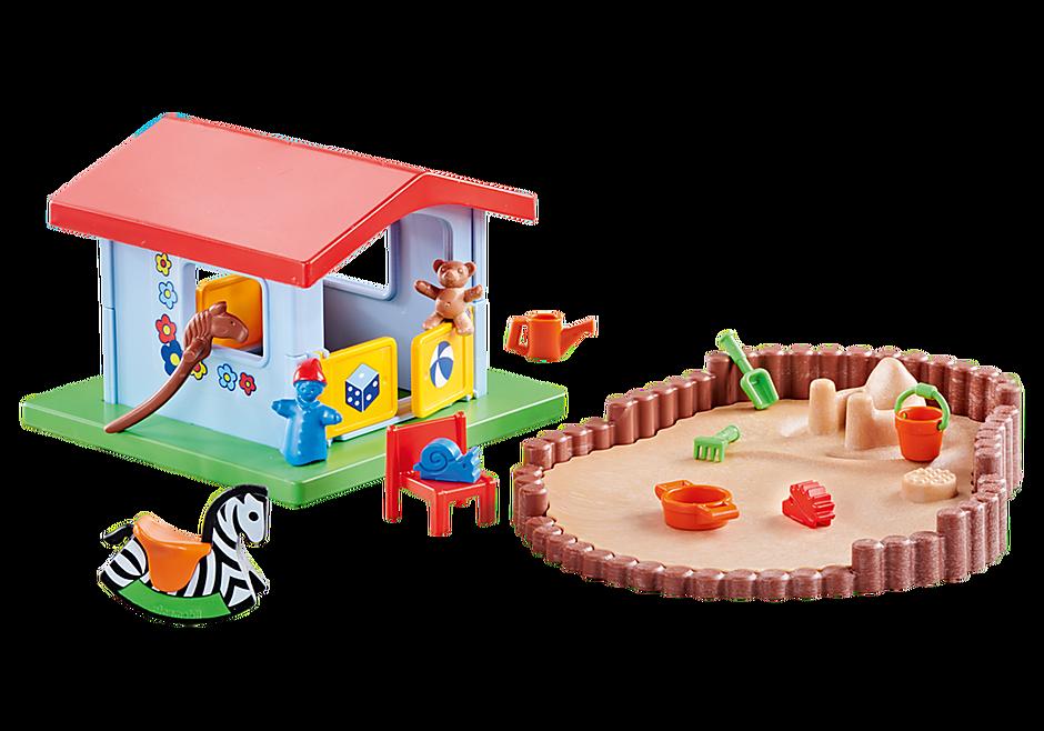 http://media.playmobil.com/i/playmobil/9814_product_detail/Μικρό σπιτάκι για παιχνίδι με σκάμμα με άμμο