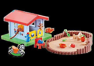 9814 Pequena casa de brincar com recinto de areia