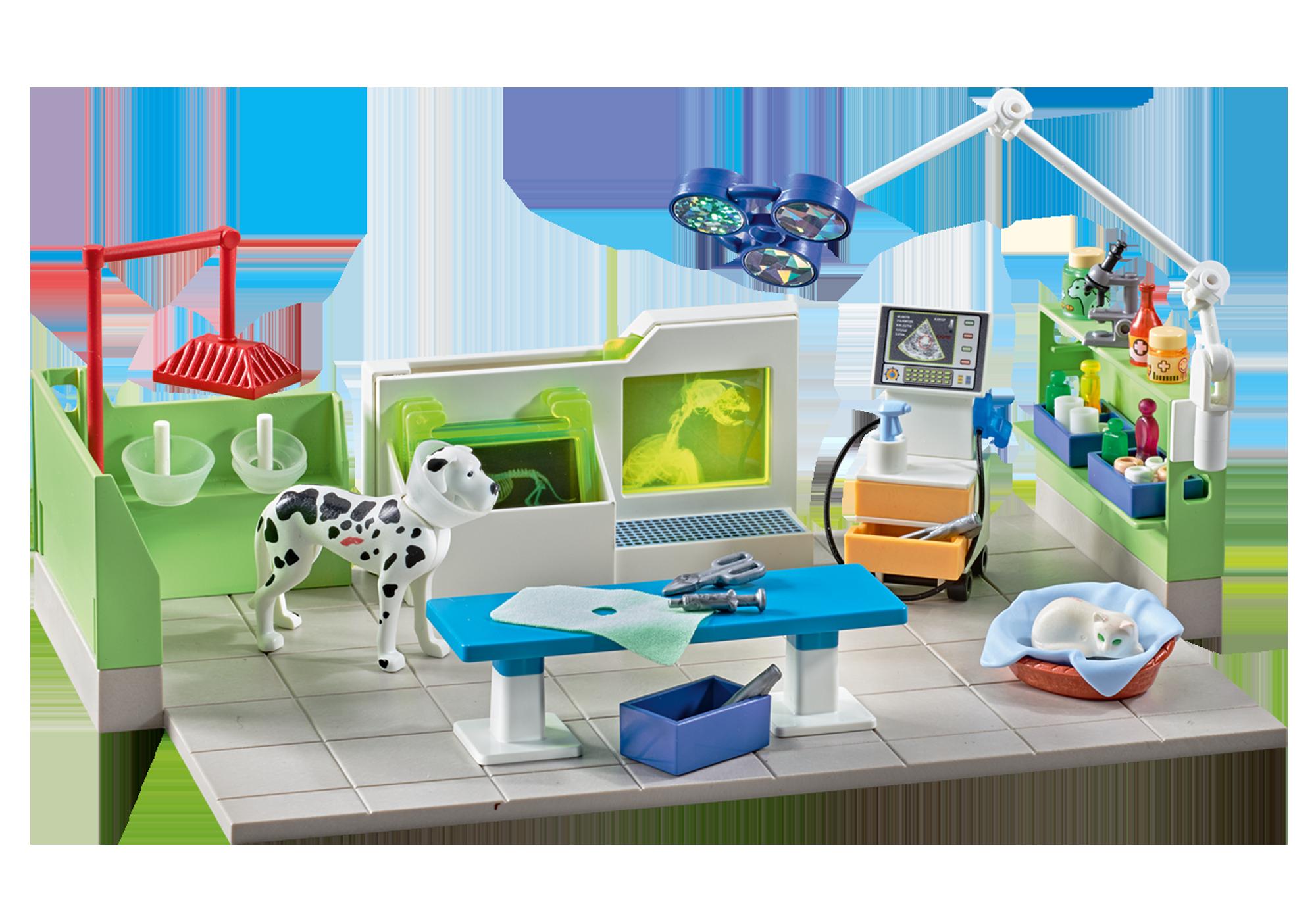 http://media.playmobil.com/i/playmobil/9816_product_detail/Clinica veterinaria con Raggi-X