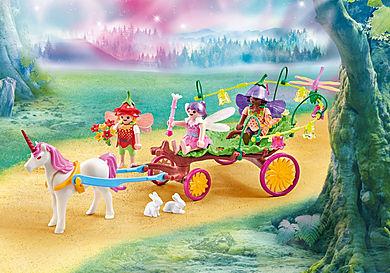 9823 Fadas crianças com carruagem e unicórnio