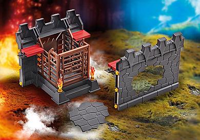 9841 Façade d'extension avec prison et mur cassable pour la Forteresse volcanique des Burnham Raiders