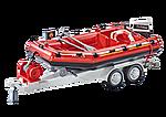 9845 Brandweerboot met aanhangwagen