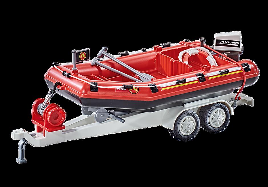 9845 Brandweerboot met aanhangwagen detail image 1