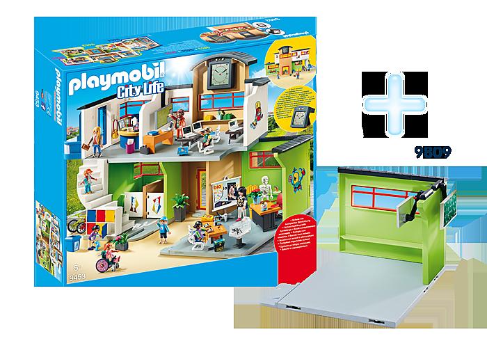 http://media.playmobil.com/i/playmobil/DE1812A_product_detail/9453 Ecole aménagée + 9809  Salle de classe supplémentaire pour Ecole (Réf.9453)