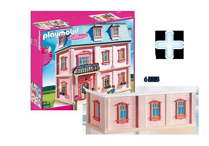http://media.playmobil.com/i/playmobil/DE1812F_product_detail/5303 Maison traditionnelle +  6453 Etage supplémentaire pour maison traditionnelle