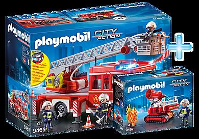 DE1812J_product_detail/9463 Camion de pompiers avec échelle pivotante + 9467 Pompier avec robot d'intervention