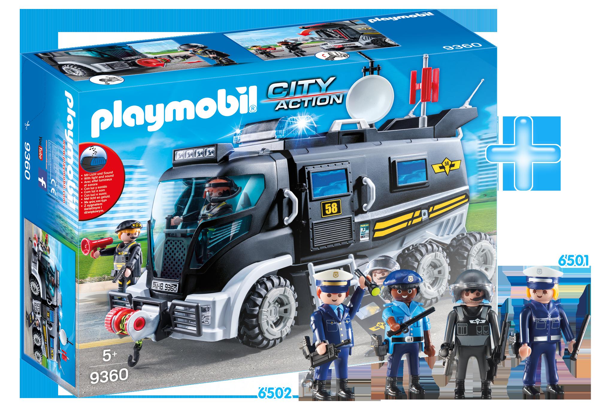 FR1904B_product_detail/9360 Camion des policiers d'élite avec sirène et gyrophare  + 6501 3 policiers + 6502 Chef des policiers
