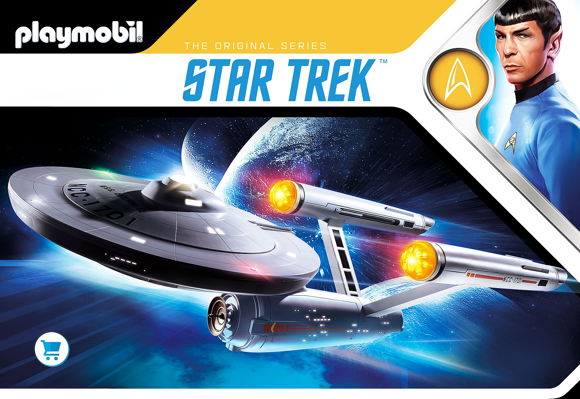 Image shows Mr. Spock right above and the U.S.S. Enterprise NCC-1701 flying in space around planets