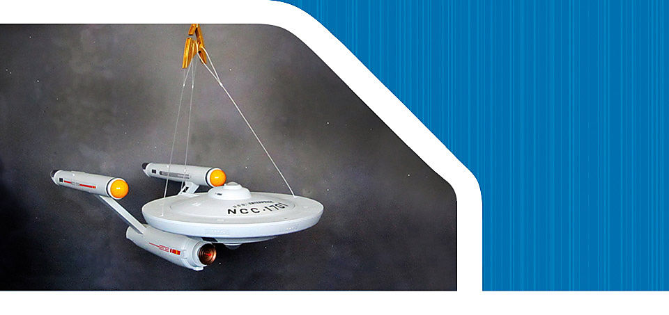 'Image shows the upper part of the U.S.S. Enterprise NCC-1701 that the command center cover can be removed