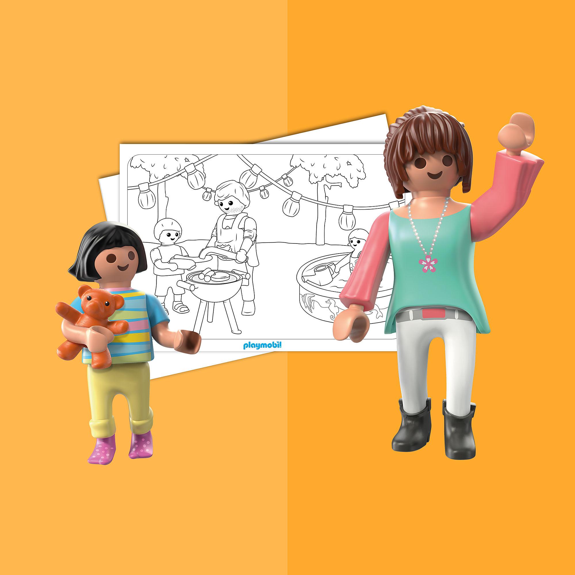 coloriage  playmobil la maison moderne