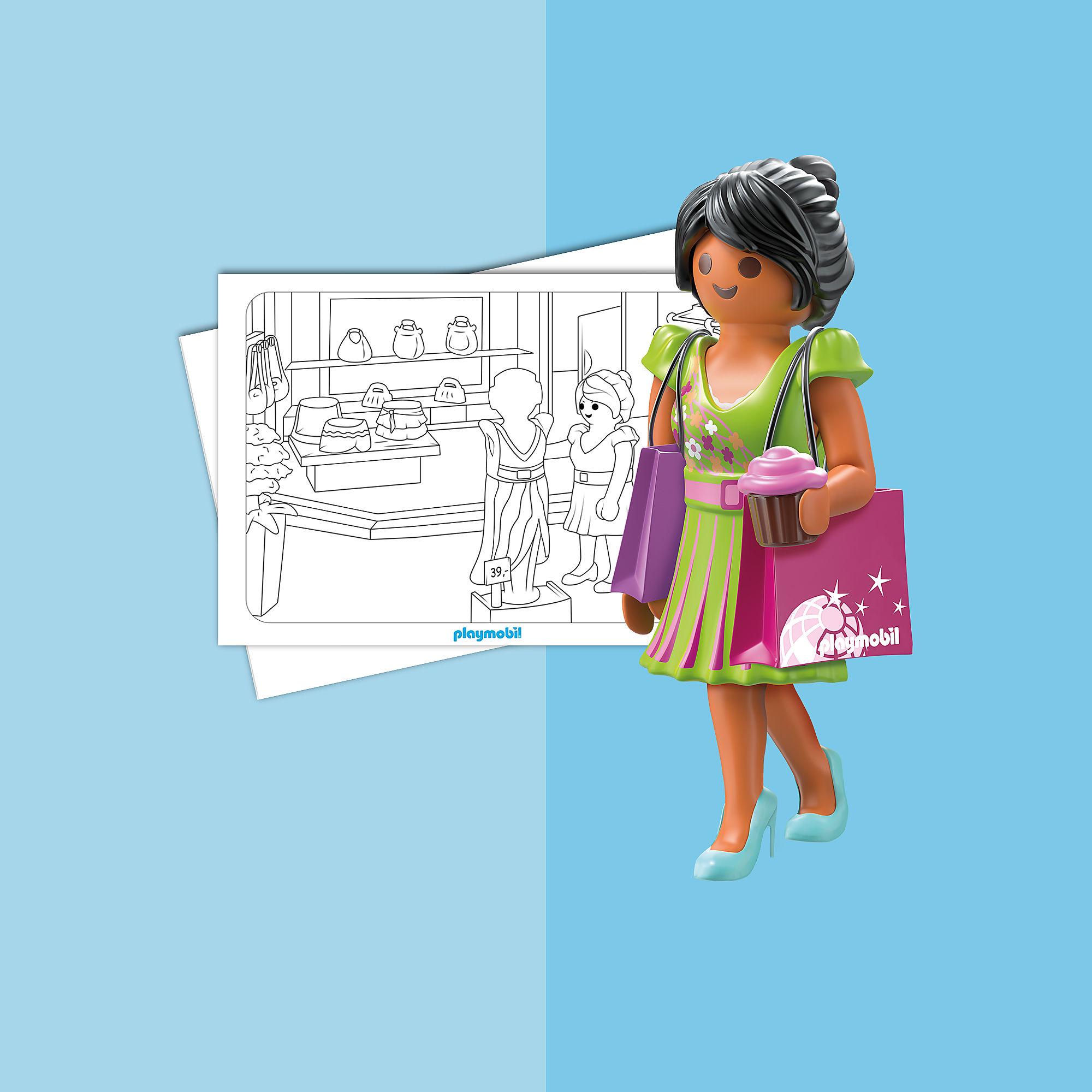 colouring sheet  playmobil shopping