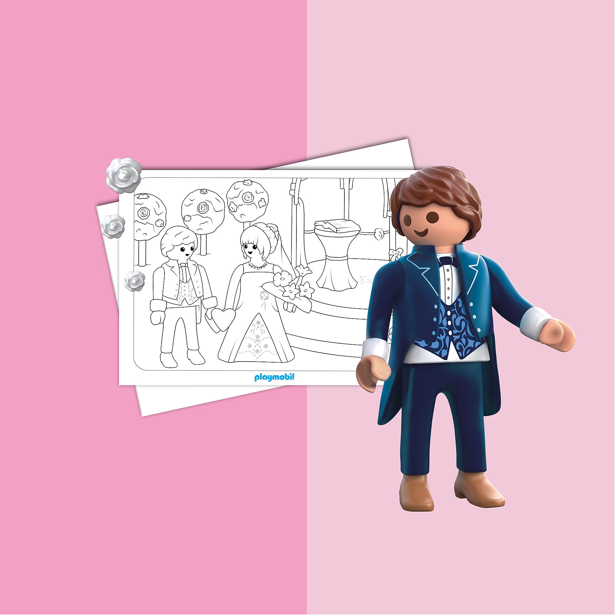 coloriage  playmobil le mariage
