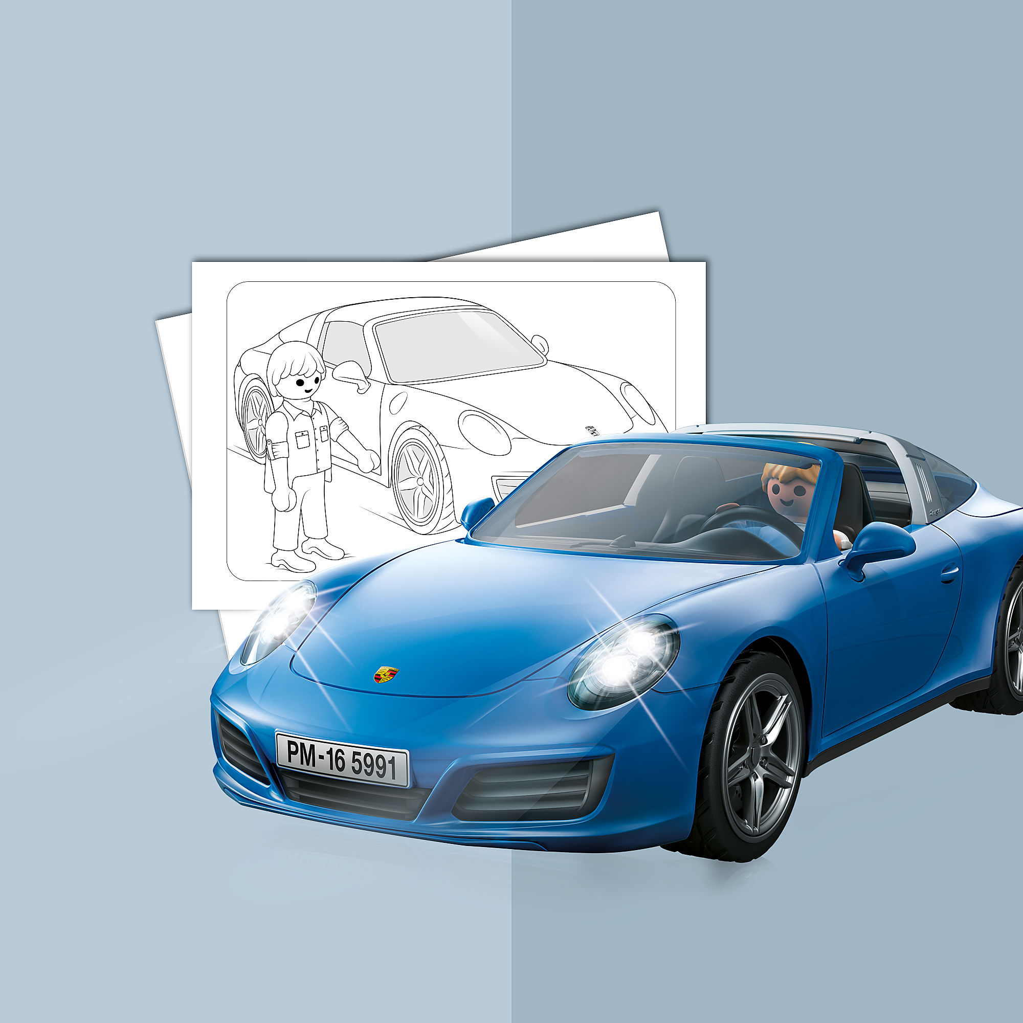 Coloring Sheet Playmobil Porsche 911 Targa 4s