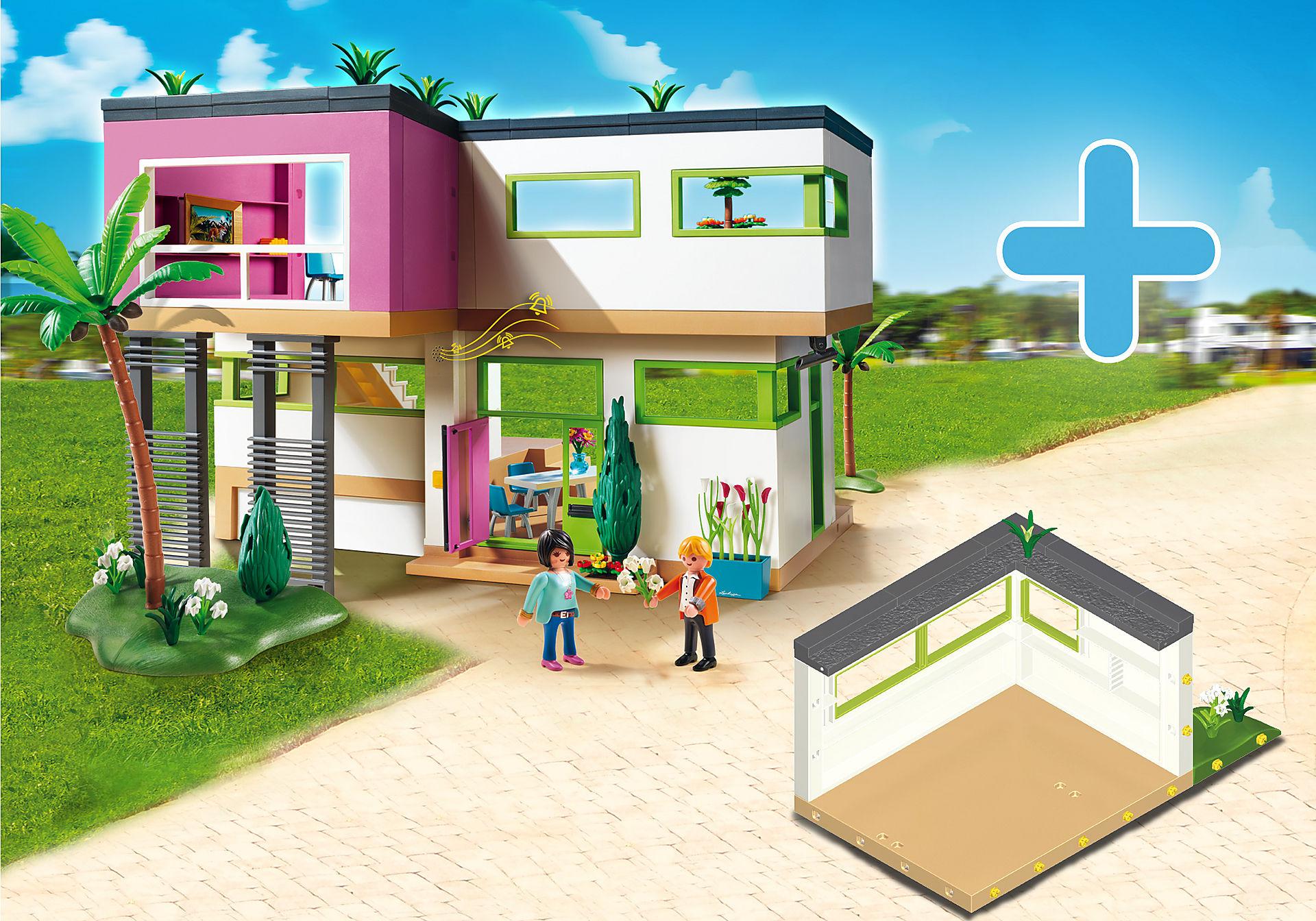http://media.playmobil.com/i/playmobil/PM1905K_product_detail/5574 Maison moderne + 6389 Pièce supplémentaire pour maison moderne