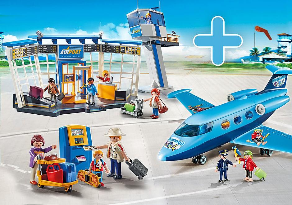 http://media.playmobil.com/i/playmobil/PM1907F_product_detail/5338 Aéroport avec tour de contrôle + 5399 Famille de vacanciers et borne d'enregistrement + 9366 Avion FunPark avec Rico