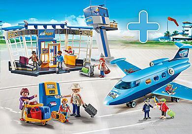 PM1907F_product_detail/5338 Aéroport avec tour de contrôle + 5399 Famille de vacanciers et borne d'enregistrement + 9366 Avion FunPark avec Rico