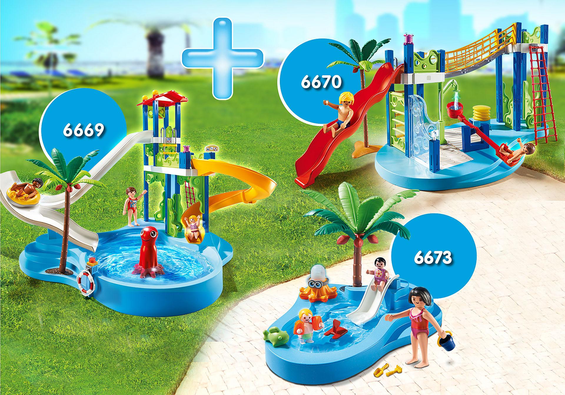 http://media.playmobil.com/i/playmobil/PM1907G_product_detail/6669 Parc aquatique avec toboggans géants 6670 Aire de jeux aquatique 6673 Bassin pour bébés et mini-toboggan