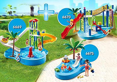 PM1907G_product_detail/6669 Parc aquatique avec toboggans géants 6670 Aire de jeux aquatique 6673 Bassin pour bébés et mini-toboggan