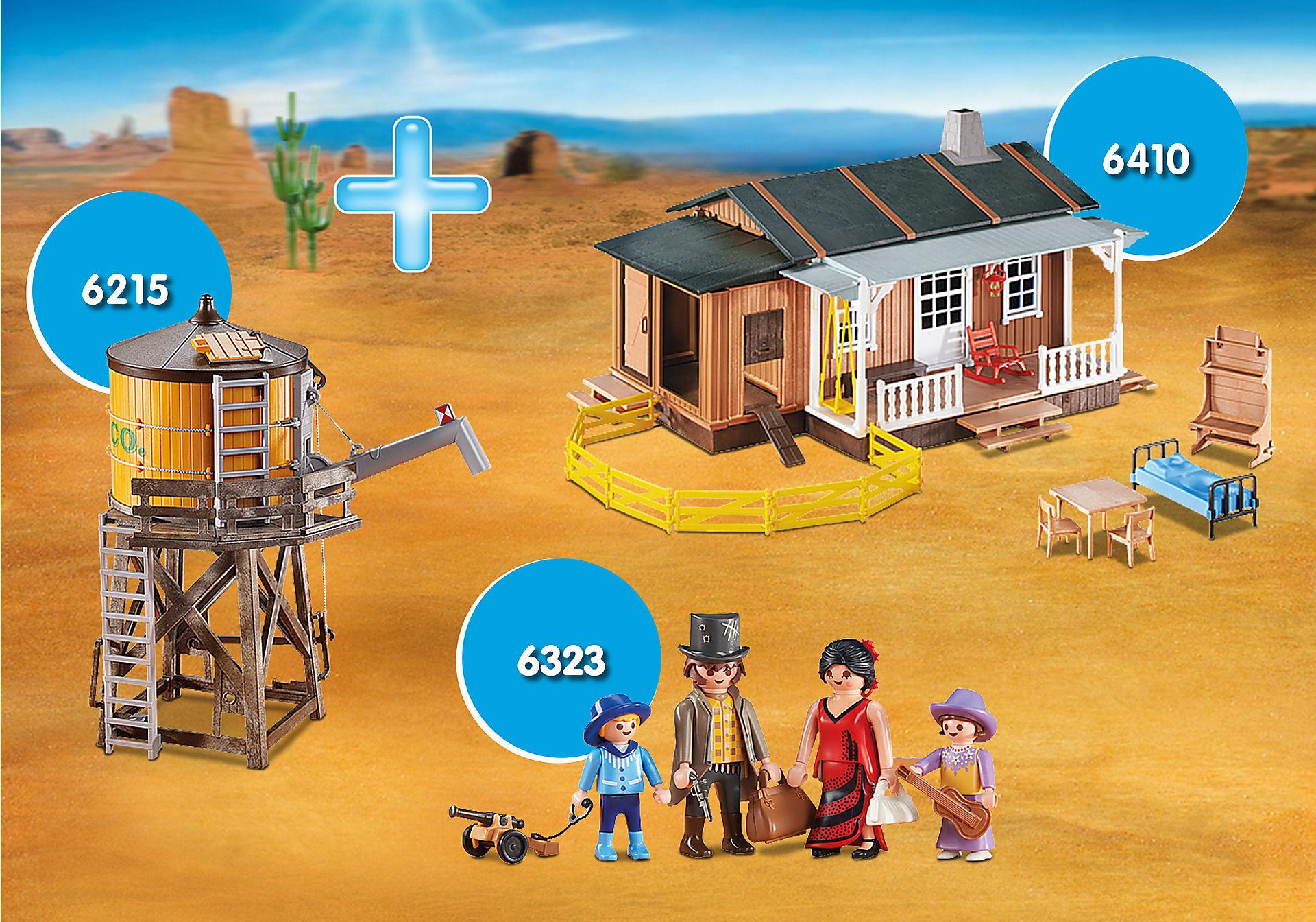 http://media.playmobil.com/i/playmobil/PM1911B_product_detail/PM1911B 6410 Ferme du Far-West + 6215 Château d'eau + 6323 Famille du Far West