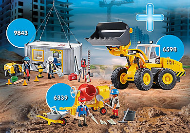 PM1911G_product_detail/PM1911G 9843 Ouvriers et container + 6598 Chargeur avec godet + 6339 Ouviers avec bétonnière