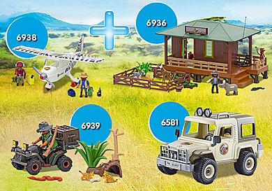 PM1911I_product_detail/PM1911I 6936 Centre de soins pour animaux de la savane + 6938 Avion avec explorateurs + 6581 4x4 d'exploration + 6939 quad