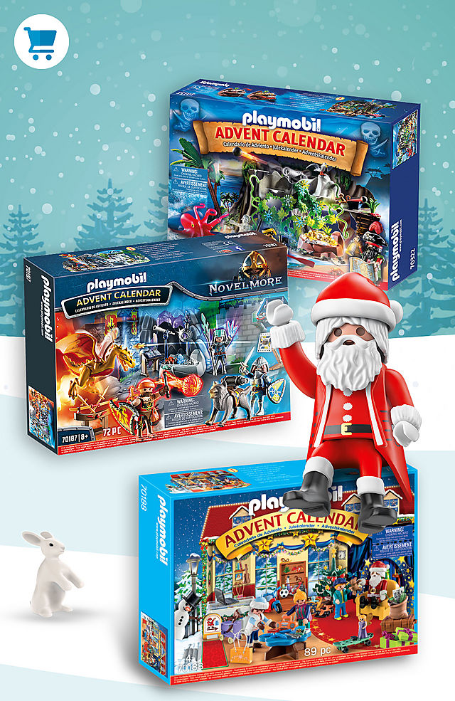 Celebrate Christmas with the Playmobil advent calendars such as 70187 Battle for the Magic Stone or 70188 Christmas Toy Store