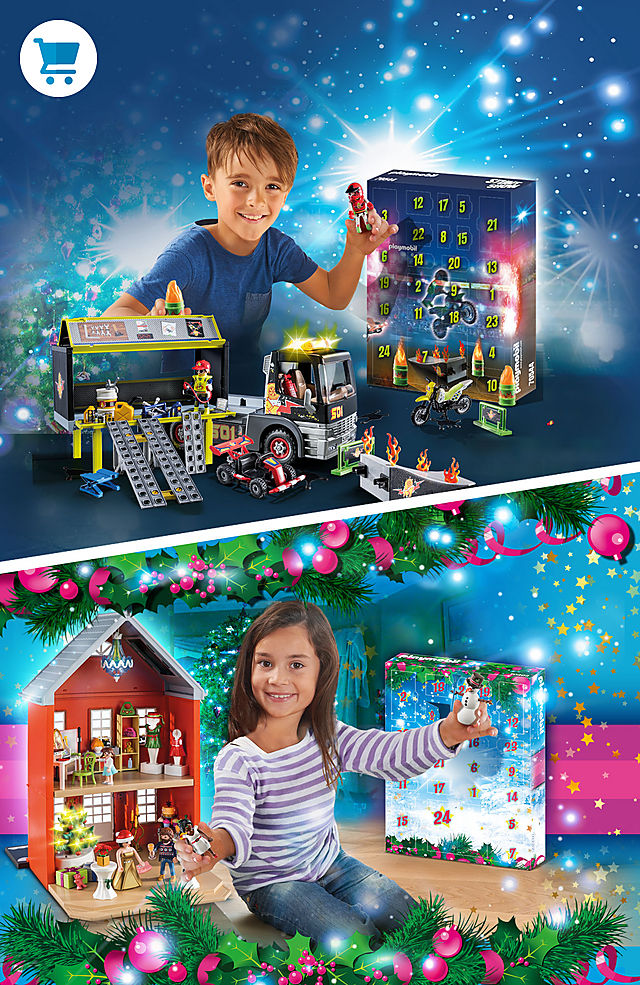 Discover the new XXL Jumbo Advent Calendar from Playmobil 70544 Stunt Show and 70383 Family Christmas
