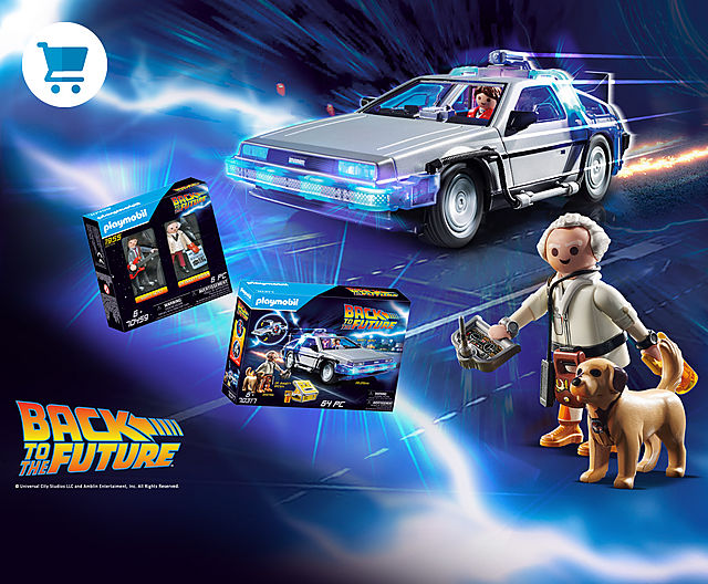 Discover the PLAYMOBIL Back to the Future playsets with 70317 DeLorean and 70459 the 1955 Marty McFly & Dr. Emmett Brown