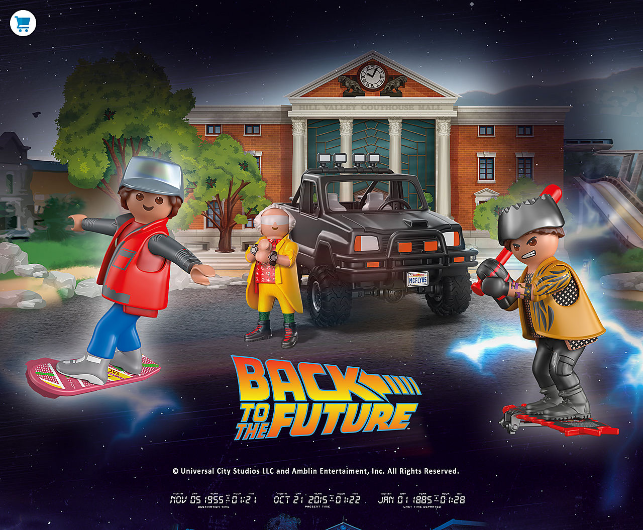 Discover the PLAYMOBIL Back to the Future playsets with 70633 Back to the Future Marty's Pick-up Truck and 70634 Back to the Future Part II Hoverboard Chase