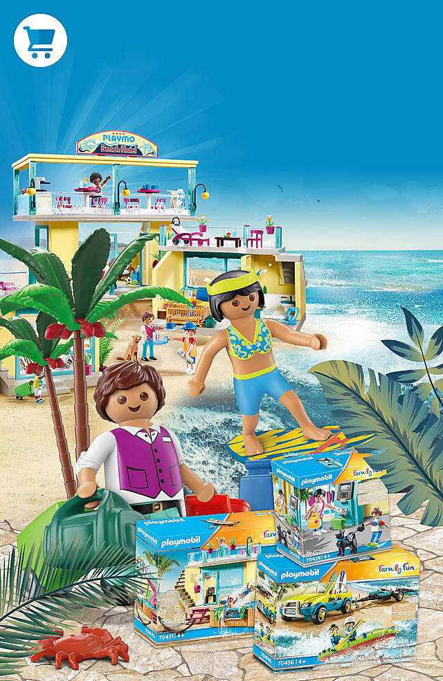 discover the new Playmobil Beach Hotel with 70436 Beach Car with Canoe and 70435 Bungalow with Pool