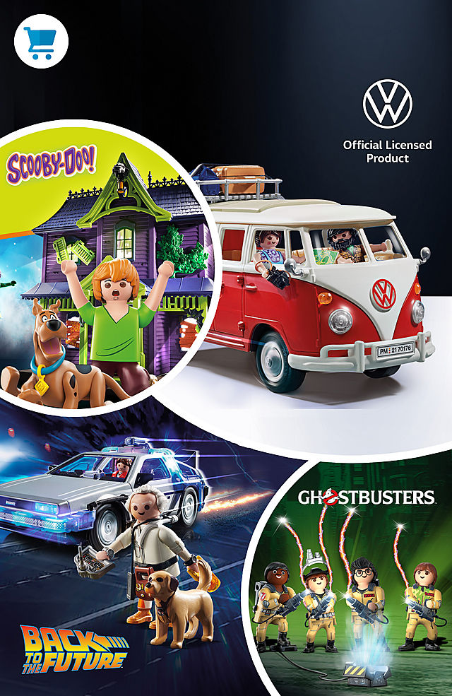 Discover the world of Playmobil licenses like the 70361 SCOOBY-DOO! Adventure in the Mystery Mansion or 70317 Back to the Future DeLorean