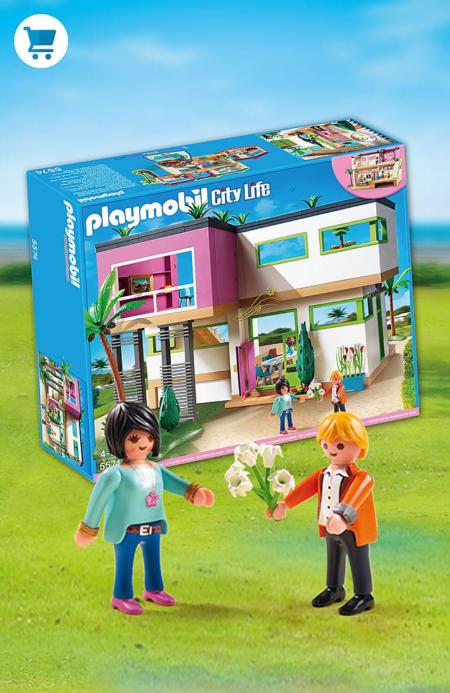 In het moderne luxe villa van Playmobil